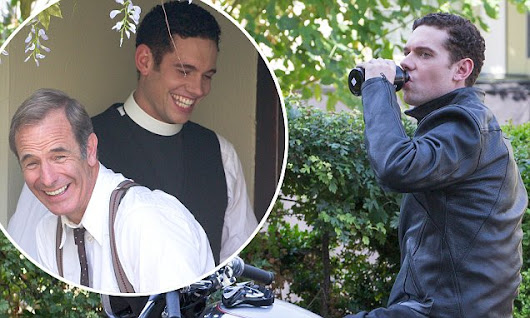 Grantchester's Tom Brittney films for the first time with Robson Green