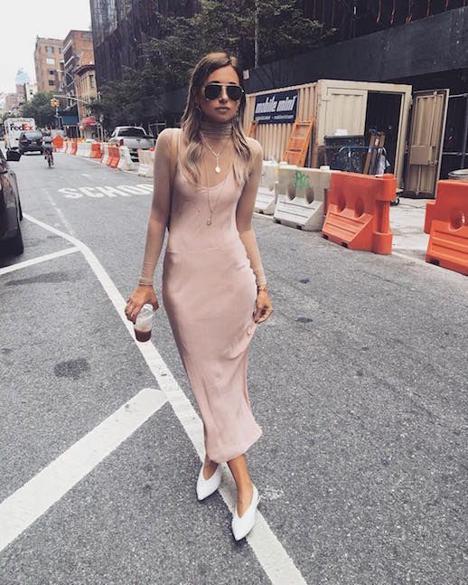 Le Fashion Blog Blush Silk Slip Dress Nude Turtleneck White Pointed Flats Aviator Sunglasses Via @ We Wore What