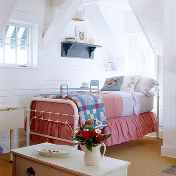 Cute Red White Blue Attic Bedroom Pictures Photos And Images