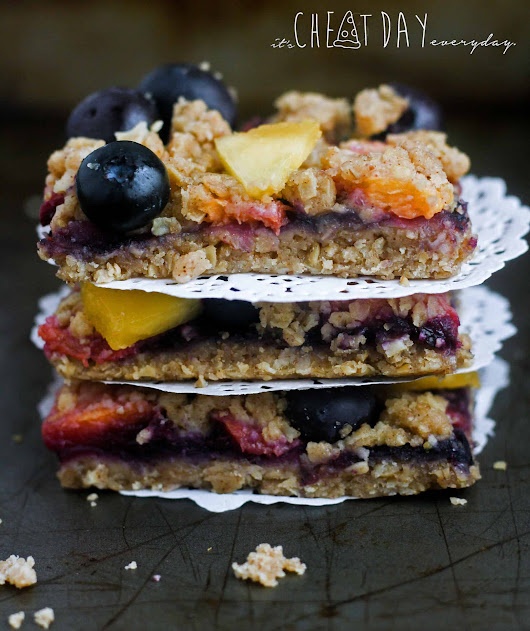 Blueberry Peach Crumble Bars - It's Cheat Day Everyday