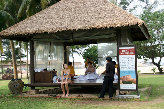 Massage pavilion by the beach