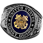 Official US Coast Guard Deluxe Engraved Silver Color Ring -Size