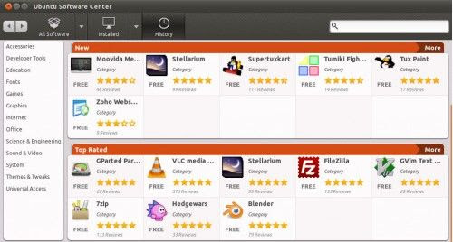 Centro Software Ubuntu 11 10 1 500x268 El Centro de Software Ubuntu cambiará (y mucho) en Ubuntu 11.10