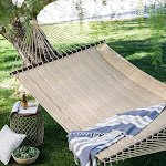 Coral Coast 13 ft. Taupe Quilted Double Hammock, Size: 2 Person, Beige