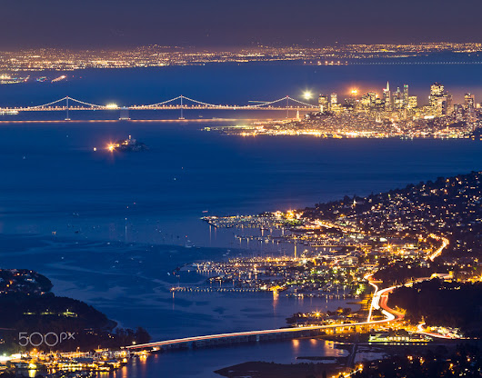 San Francisco by night from the Mount Tamalpais - CA
