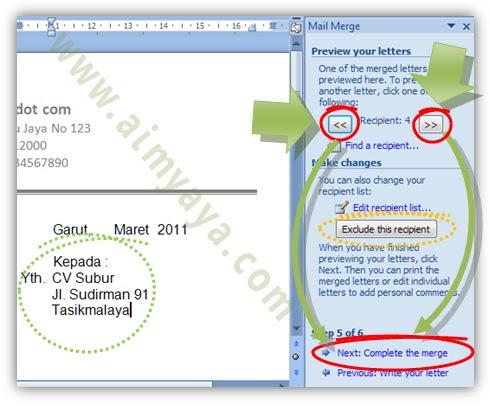 Gambar: Melakukan preview surat mail merge di microsoft Word