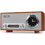 Victrola Bluetooth Analog Clock Stereo with FM Radio and USB Charging - Mahogany