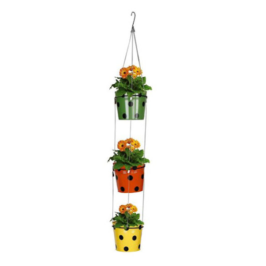 3 Tier Wire Rope Hanging Planter (Green, Orange, Yellow)