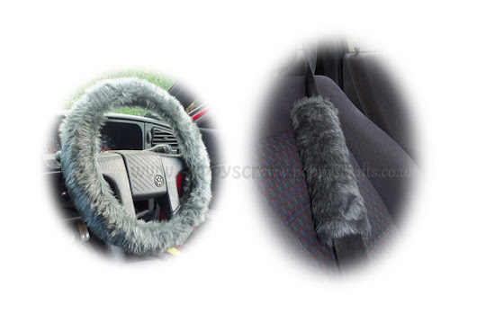 Dark Grey fluffy steering wheel cover and matching seatbelt pads set – Poppys Crafts