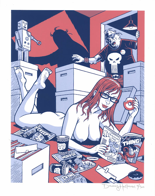 """Nude with Comic Books,"" my new signed, Ltd Ed screen print; yours for $25+S&H at Big Cartel: http://bit - from @dannyhellman on Ello."
