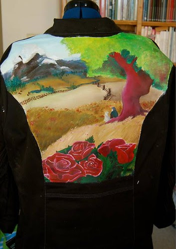 """""""Hero's Journey"""" a jacket for Eileen Propp painted by Amy O'Hanlon"""