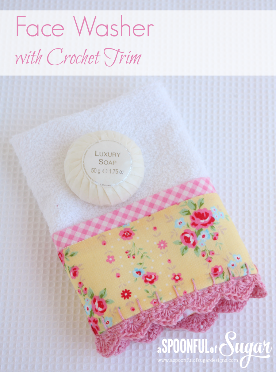 Face Washer with Crochet Trim 1