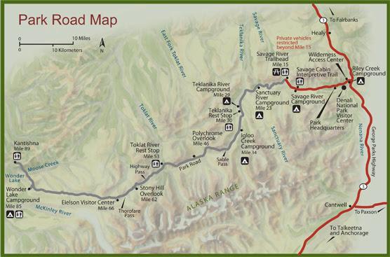 A map of the Denali Park Road
