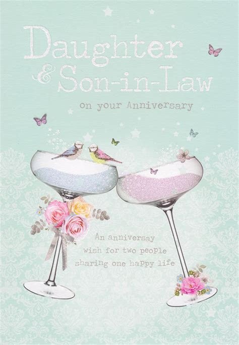 Daughter And Son in Law Glitter Glasses Anniversary Card