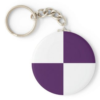 Royal Purple and White Rectangles Keychains