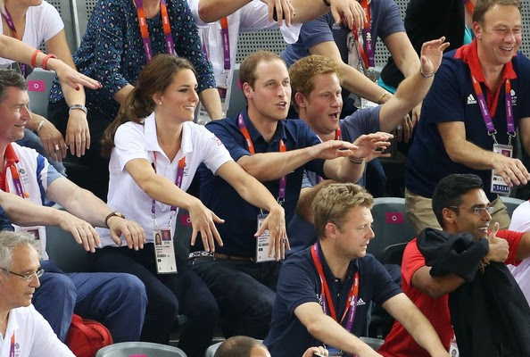 Royal couple Prince William and Catheirne Duchess of Cambridge participate in a special ola after  the speaker asked the public to do a slow motion wave at the track cycling finals at the Velodrome, in the Olympic Park.