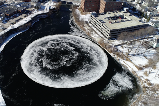 A Giant Ice Disk Has Formed on a River in Maine - Atlas Obscura