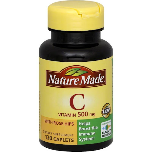 Nature Made Vitamin C with Rose Hips, 500 mg, Caplets - 130 count bottle
