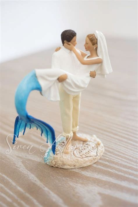 Mermaid Wedding Cake Topper by SirenAllure on Etsy   wed
