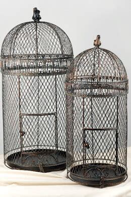 "Large Vintage Pigeon Bird Cages 30"" & 25"""