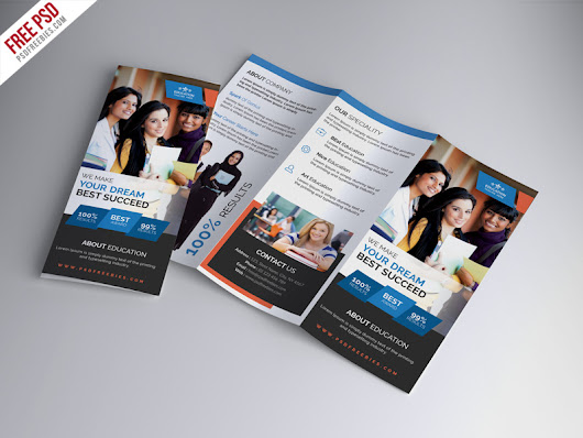 University Education Tri-fold Brochure PSD Template | PSDFreebies.com