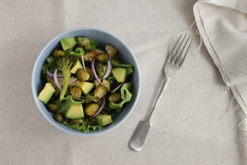 Brussels sprouts and avocado salad