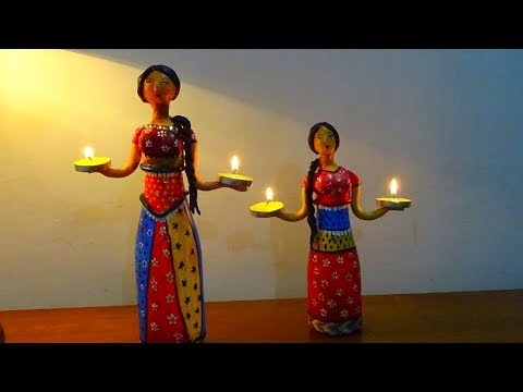 DIY Candle Stand Doll Using Plastic Bottle/ Diwali decoration ideas