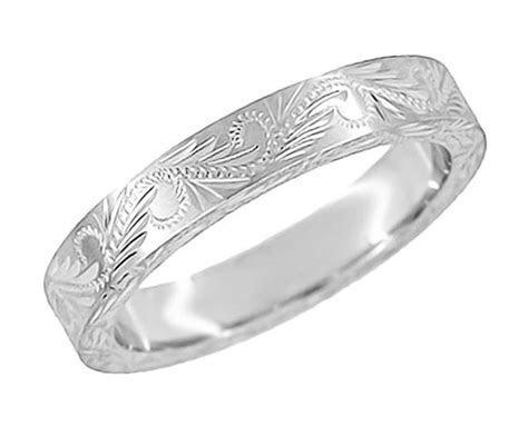Hand Engraved Scrolls & Leaves Vintage Design Wedding Band