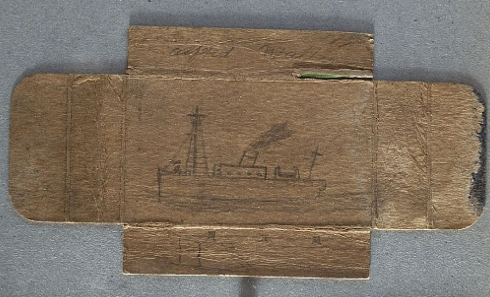 artspotting: Alfred Wallis (1855 -1942) Boat on a Cigarette Packet via New Craftsman Gallery