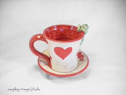 Frog Prince Valentine Mug and Saucer Set with Red Hearts