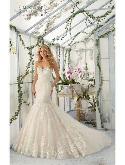 Mori Lee 2804 Lovely Fit And Flare Lace Wedding Gown Ivory