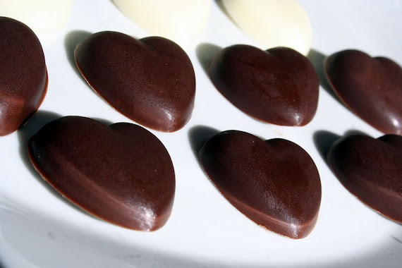 Chocolate Hearts - 15 candies - Milk Chocolate, White Chocolate Valentines Treats and Edible Gits by Confectious on Etsy