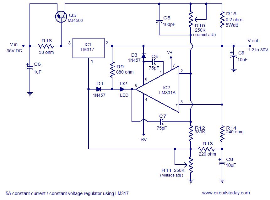 5A constant voltage/current regulator