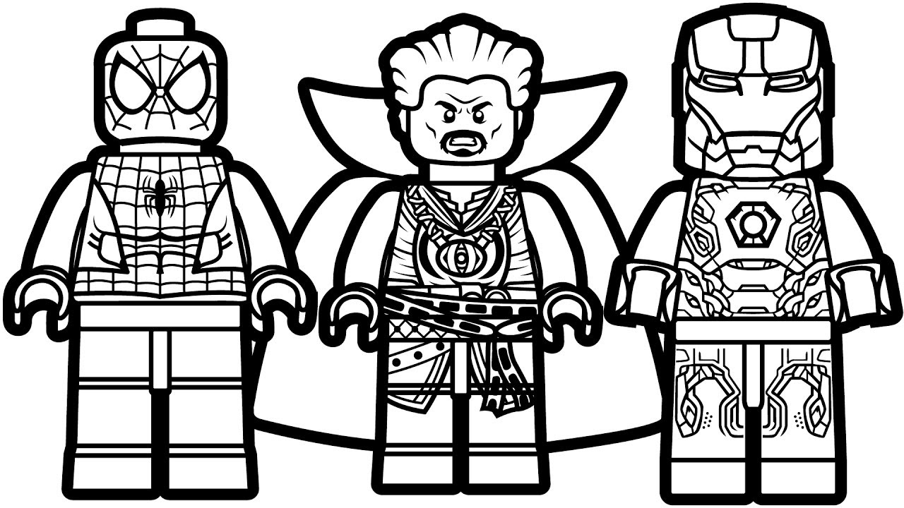 Lego: Spiderman, Doctor Strange And Iron Man Coloring Page ...