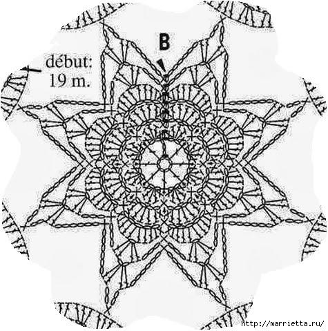 Bedspread crochet.  The circuit pattern (2) (475x479, 166Kb)