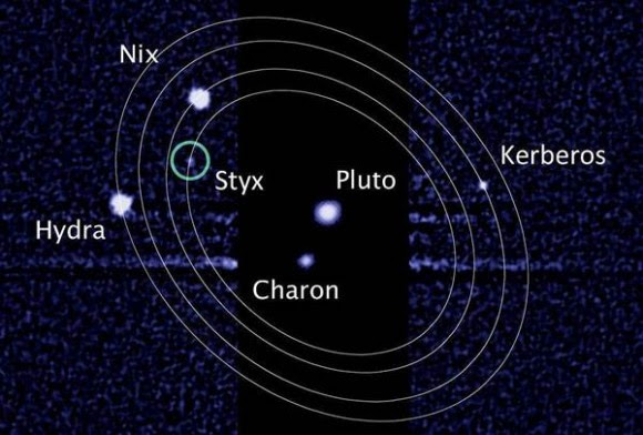 This image from the Hubble Space Telescope shows Pluto and its five known moons. The New Horizons team plans to study the moons during July's Pluto flyby. L. Frattare / STScI / NASA / ESA