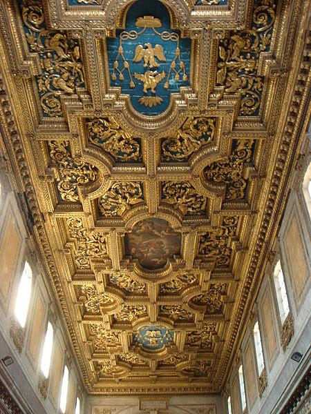 Fil: Trastevere - San Crisogono - soffitto en lacunari con Stemma Borghese 01432.JPG