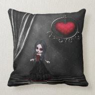 Gothic Romance Goth Girl & Hanging Heart Pillow throwpillow