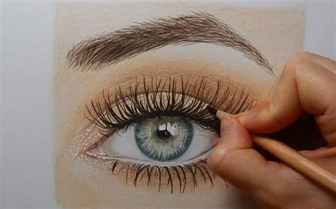 drawing  realistic eye  colored pencils timelapse