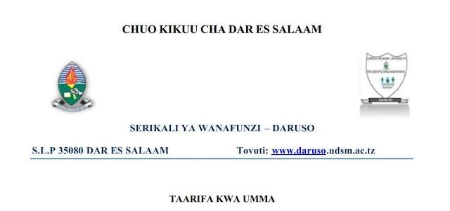 Jumuiya ya Wanafunzi Chuo Kikuu cha Dar es Salaam watoa siku moja hili kutekelezwa