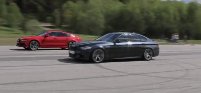 Rolling Race Stock Audi Rs7 Vs Tuned Bmw M5 F10 Video Dpccars