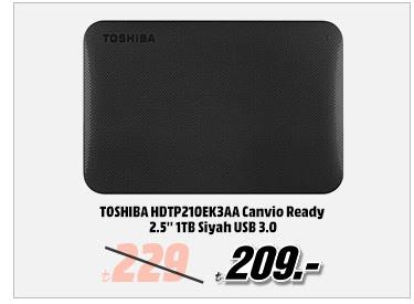 TOSHIBA HDTP210EK3AA Canvio Ready 2.5'' 1TB Siyah USB 3.0 209TL