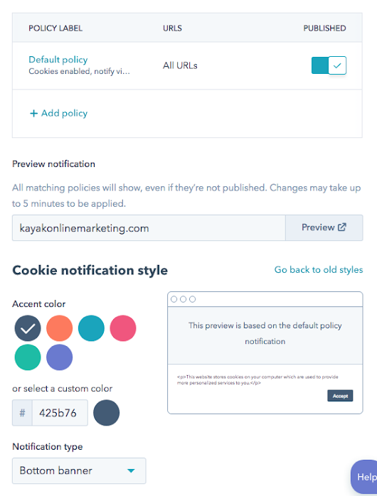 How to set up a Cookie Policy Alert in HubSpot