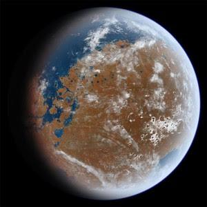 Lo antiguo Marte puede haber parecido.  (Crédito: Ittiz / Wikimedia Commons)