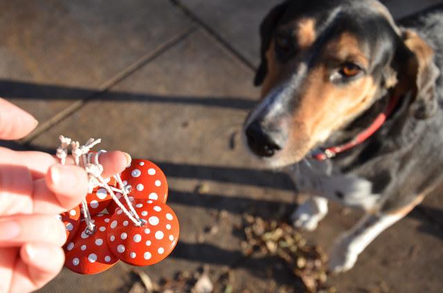 handmade holiday   wood mushroom ornaments