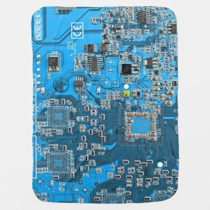 Computer Geek Circuit Board - blue Stroller Blanket