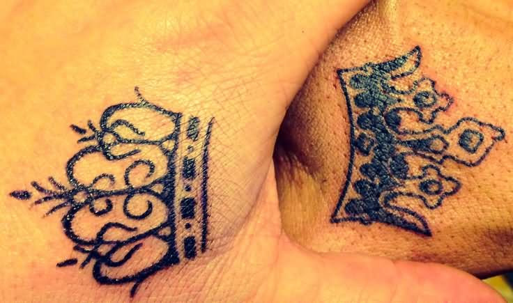 Queen And King Crown Tattoos On Hands