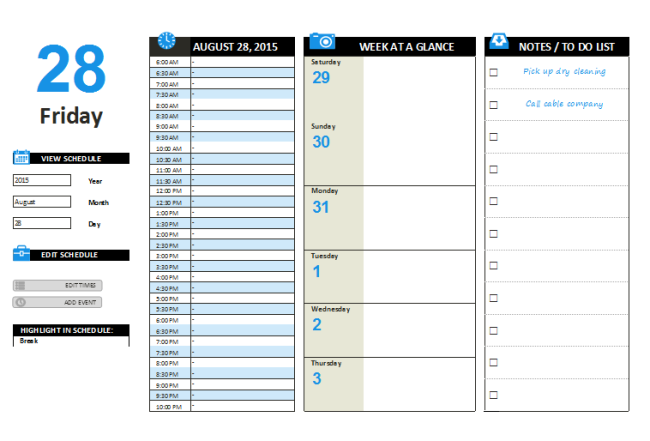 Daily Planner Template – Printable Documents