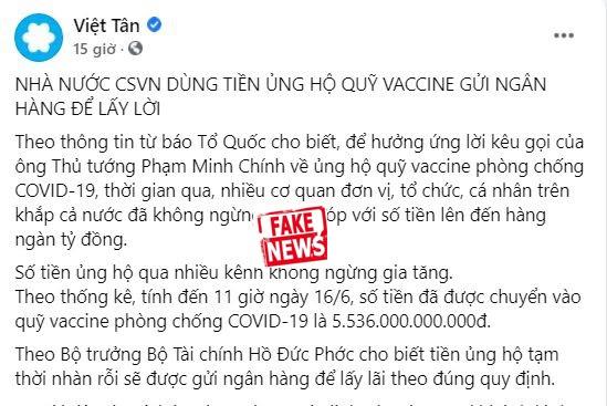 """Việt tân lại xuyên tạc """"Quỹ vaccine"""""""