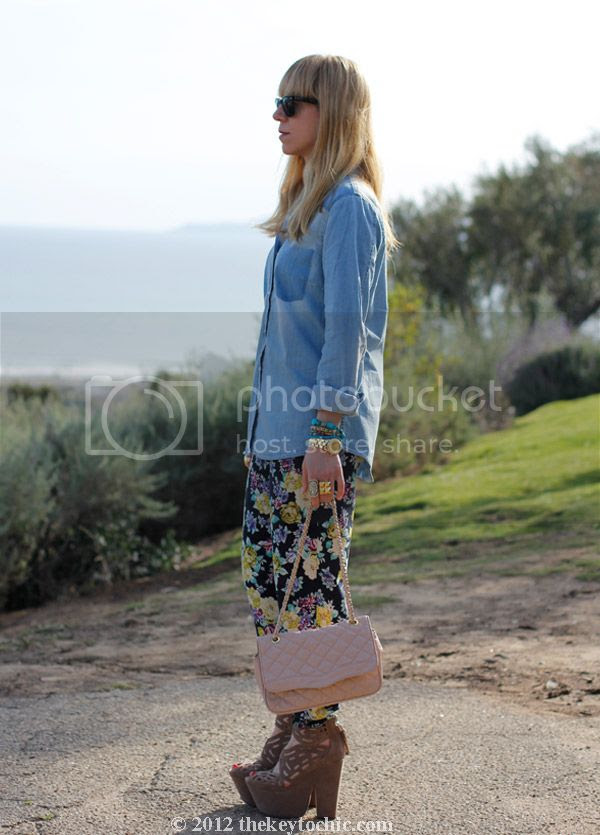 chambray faded pocket top, floral pants, Michael Antonio Gallista heels, southern California fashion blog